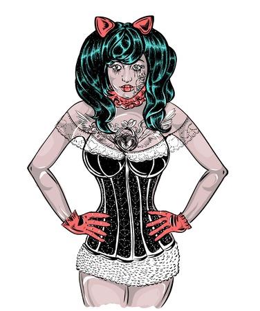 hair pins: Girl in corset tattoo gloves ears corset, glovesgirl Illustration