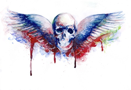 crook: watercolor skull with wings, with blood drops Stock Photo