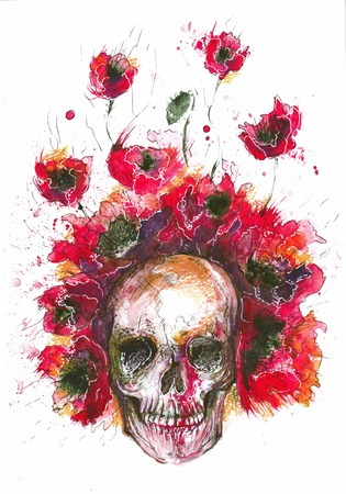 Watercolor of the skull and poppies in red photo