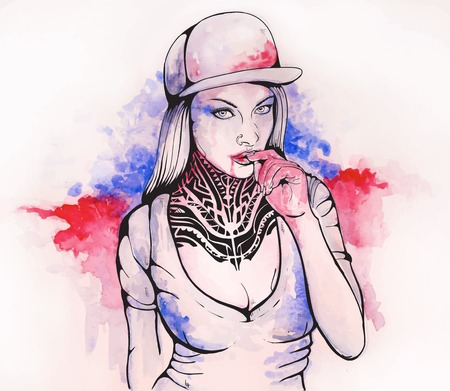 baseball caps: watercolor girl in cap and tattoo with blood on her lips