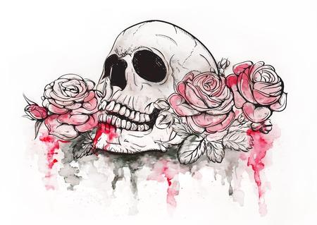 calavera: Ilustración del cráneo y de las flores del vector Día de los Muertos