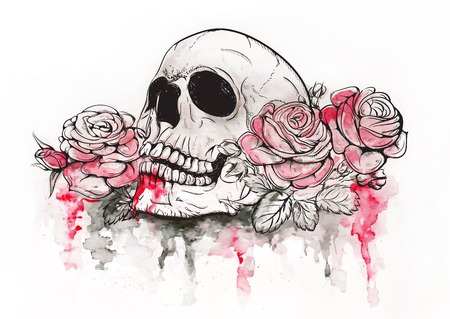 skull tattoo: Skull and Flowers Vector Illustration Day of The Dead Illustration