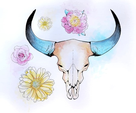 Vector illustration of the skull of a bull with flowers and splashes of watercolor Illustration