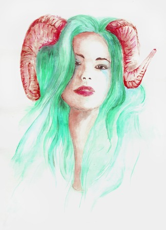 devil woman: Beautiful woman with long hair and horns, green, skull, watercolor