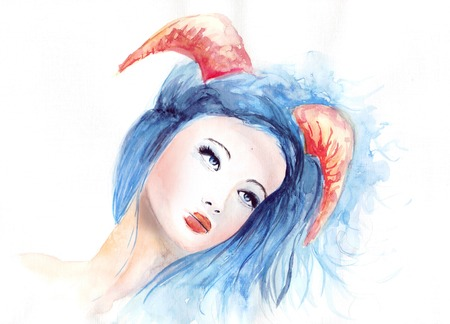 hunted: Beautiful woman with long hair and horns, blue, skull, watercolor