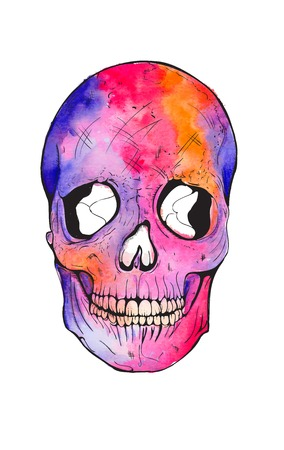 bright colored watercolor voodoo skull tattoo print Illustration