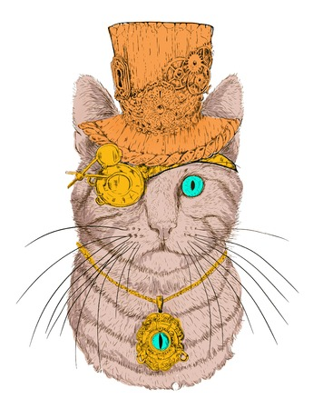 steampunk kat in de hoed en een bril Stock Illustratie