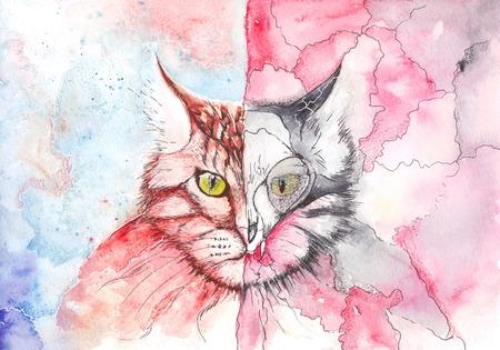 teufel und engel: Aquarell-Katze, die die Dualität der Natur