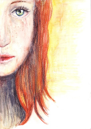 Picture of a beautiful redhead sad girl