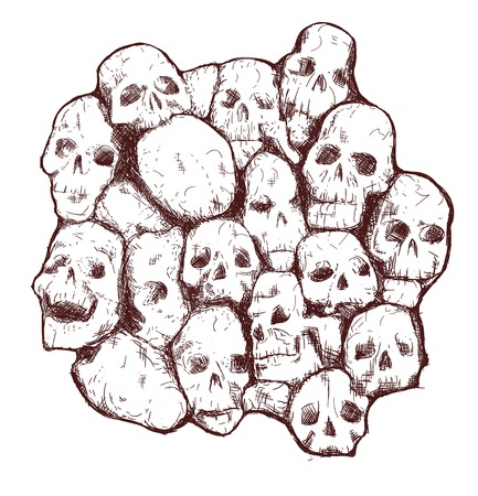 Conjoined grungy stylized skull for prints and patterns Vector