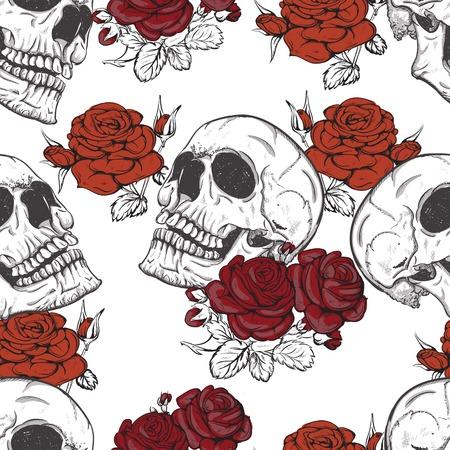 tessile: senza soluzione di vettore con rose e teschi cranio Vettoriali