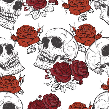 papel tapiz: sin fisuras vector con rosas y calaveras cráneo Vectores