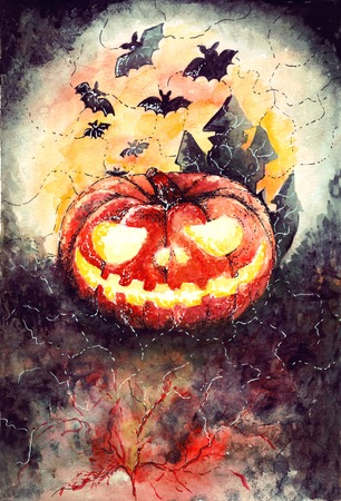 halloween watercolor pattern with space for text photo
