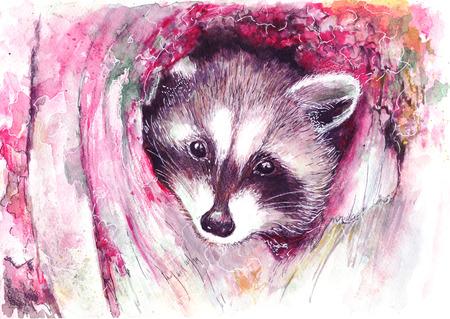 animal print, illustrati on raccoon, raccoon watercolor graphics, Raccoon cartoon waving, cute animal poster, pretty princess, watercolor, cute animal, animal poster