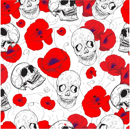 kitsch: Seamless pattern with skulls and flowers poppy