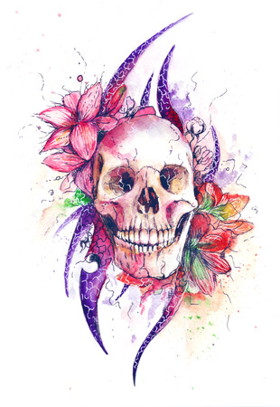 Skull and Flowers Vector Illustration Day of The Dead 版權商用圖片