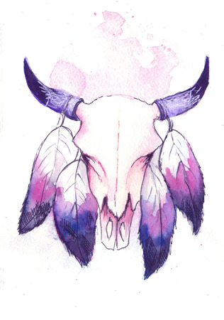 texas longhorn cattle: water color skull of a bull with feathers