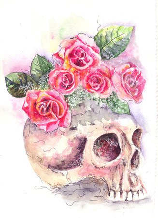 calavera: water color, from a skull roses grow
