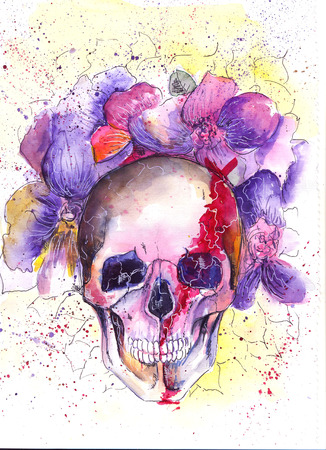 morbid: Skull and Flowers Illustration Day of The Dead