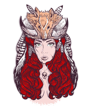 devil man: Beautiful woman with long hair and horns fox