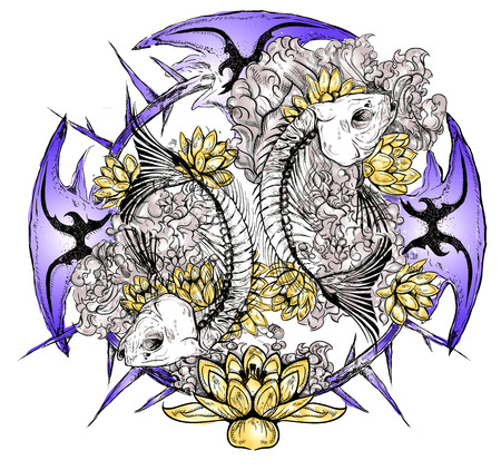 pisces: Colorful vector Pisces skeleton in the flowers Illustration