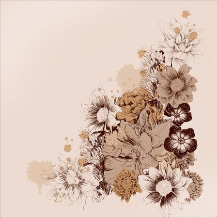 ink painting: Vector graphics area of flowers for cards