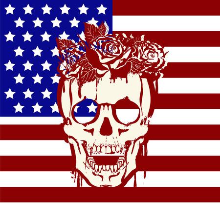 estados unidos bandera: Bandera de Estados Unidos con una calavera y rosas