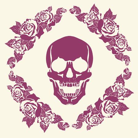 all saint day: human skull made of flowers, vector illustration