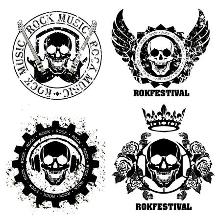 Ensemble de studios de musique logos de rock et d'enregistrement. Éléments de conception de la musique avec Illustrations type et de la police. Étiquette Vintage Rock Bête Banque d'images - 45720242