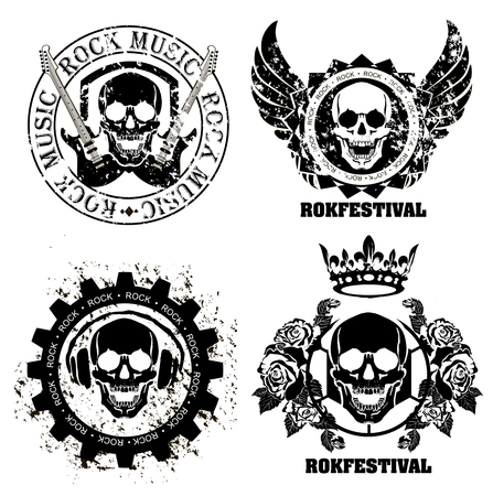 Set of logos rock music and recording studios. Music design elements with font type and illustration vector. Vintage label Rock Beast Çizim