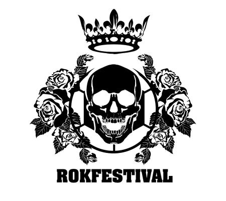 Music design elements with font type and illustration vector. Vintage label Rock Beast Иллюстрация