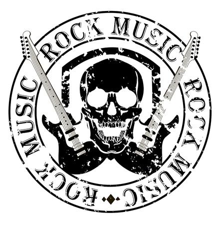skull logo: Music design elements with font type and illustration vector. Vintage label Rock Beast Illustration