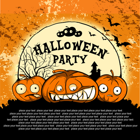 intertainment: Halloween Party Design template, with pumpkin and place for text.