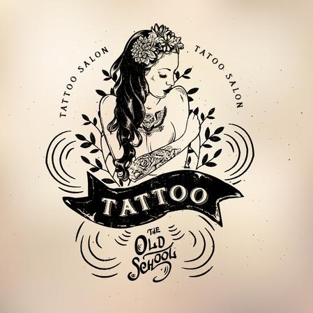 Vector tattoo studio logo templates on dark background. Cool retro styled vector emblems.