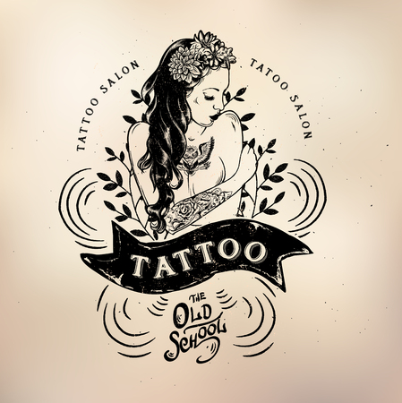tattoo girl: Vector tattoo studio logo templates on dark background. Cool retro styled vector emblems.