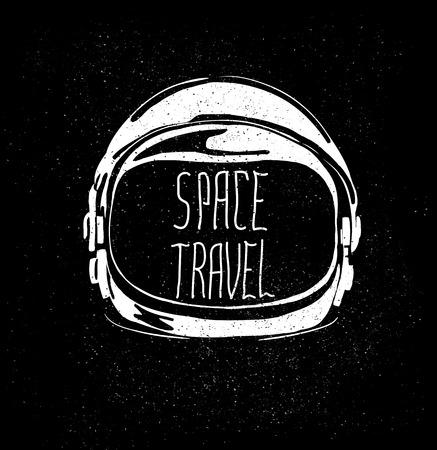 分離したスペース旅行エンブレムに抽象的な宇宙飛行士ヘルメット  イラスト・ベクター素材
