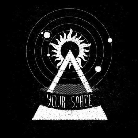 sol y luna: símbolo emblema para su creatividad en el tema del espacio