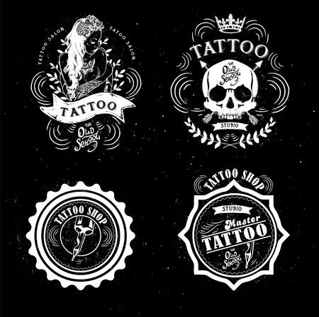 tatouage fleur: set studio de tatouage mod�les de logo sur fond sombre