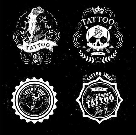machine shop: set tattoo studio logo templates on dark background