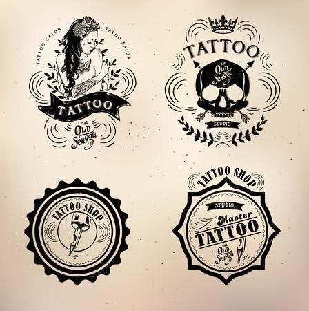 dode bladeren: set tattoo studio logo templates op een donkere achtergrond