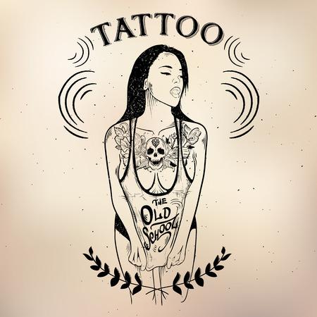 tattoo studio logo templates on dark background Illustration