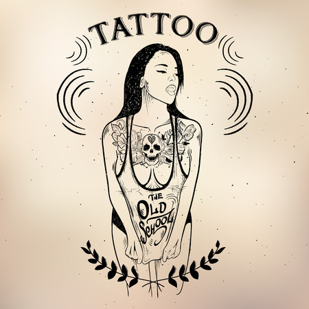 vodoo: tattoo studio logo templates on dark background Illustration