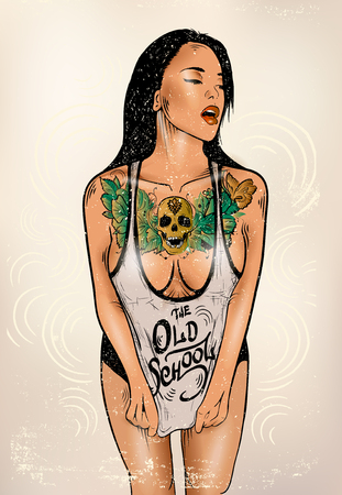 nude girl young: Attractive sexy girl with a tattoo on her chest Illustration