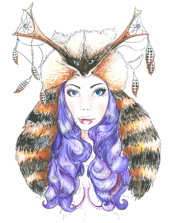 tattoo face: watercolor woman in furs raccoon with deer antlers Stock Photo