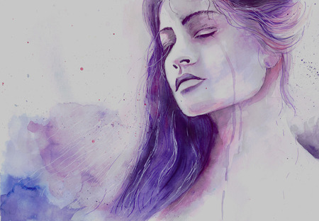 stressed woman: Watercolor beautiful girl in a state of depression crying