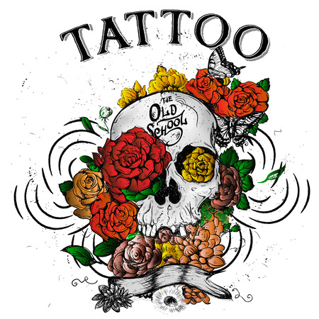 tattoo art: Skull and flowers butterflies  illustration Day of the Dead Stock Photo