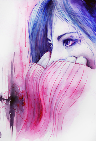thoughtful woman: Watercolor beautiful girl in a state of depression crying