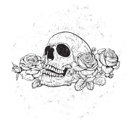 muerte: Cráneo y flores Ilustración día de los muertos