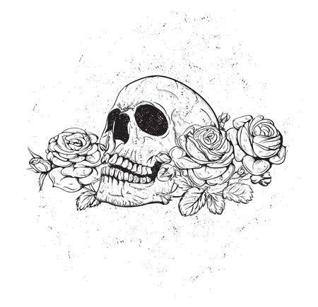 red heads: Skull and Flowers Illustration Day of The Dead