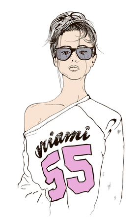 fashion girl: sports sexy young girl with glasses hipster